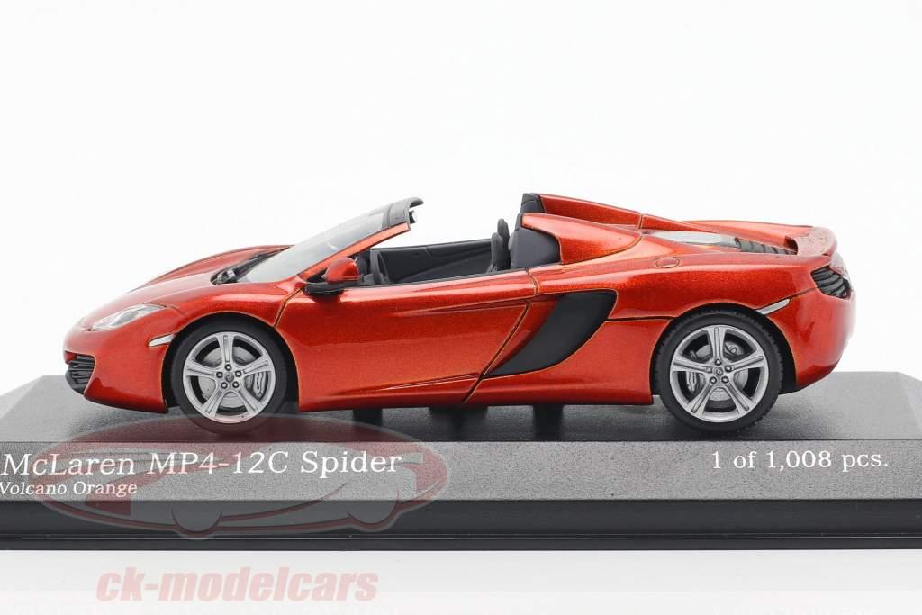 McLaren MP4-12C Spider Ano 2012 vulcão Laranja metálico 1:43 Minichamps