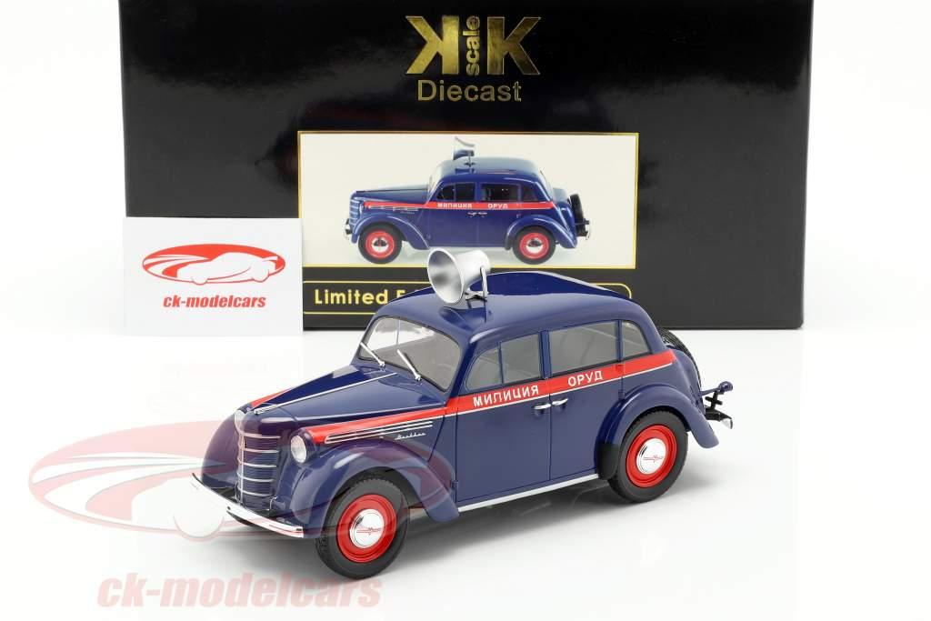 Moskwitsch 400 Polizei Baujahr 1946 dunkelblau / rot 1:18 KK-Scale