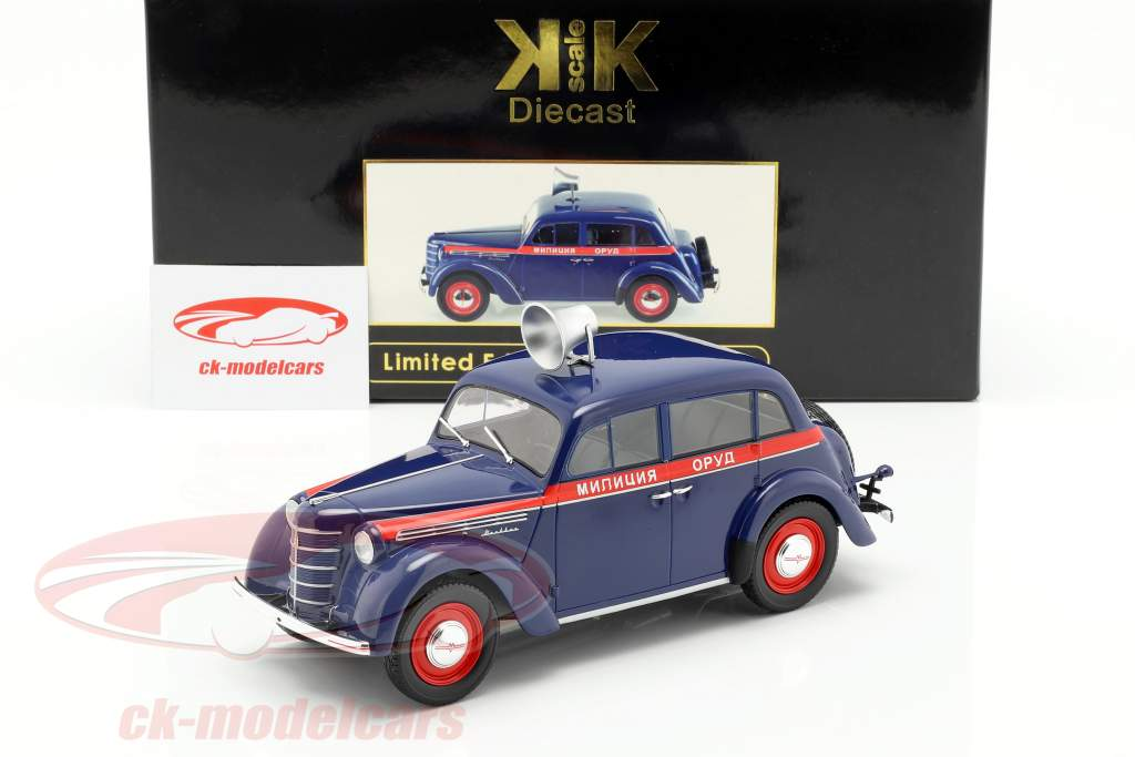 Moskwitsch 400 polizia anno di costruzione 1946 blu scuro / rosso 1:18 KK-Scale