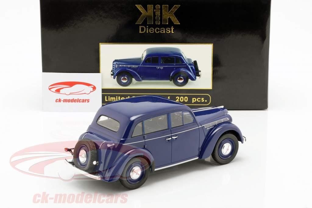 Moskwitsch 400 Bouwjaar 1946 donkerblauw 1:18 KK-Scale