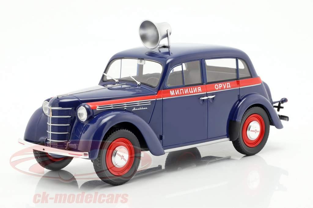 Moskwitsch 400 politi Opførselsår 1946 mørkeblå / rød 1:18 KK-Scale