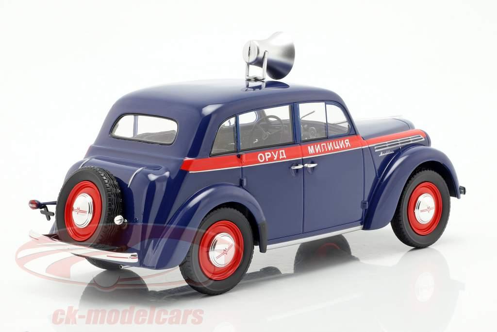 Moskwitsch 400 policía año de construcción 1946 azul oscuro / rojo 1:18 KK-Scale