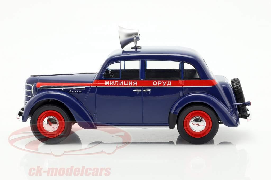 Moskwitsch 400 politie Bouwjaar 1946 donkerblauw / rood 1:18 KK-Scale