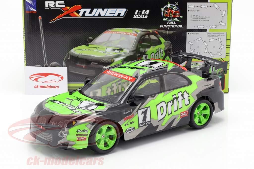 X-Tuner R / C Drift Car con pilones verde / negro / gris 1:14 NewRay