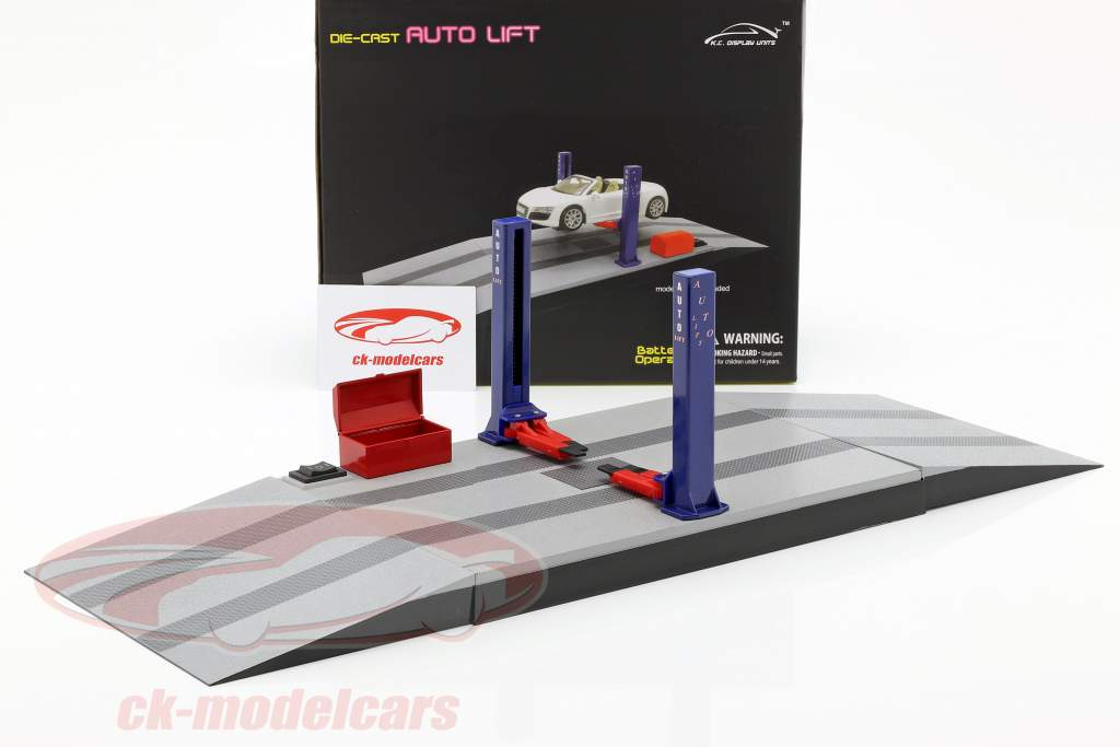 Twee post hydraulisch auto lift blauw / rood / grijs 1:24 Triple9