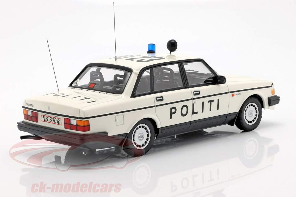 Volvo 240 GL polizia Danimarca anno di costruzione 1986 bianco 1:18 Minichamps