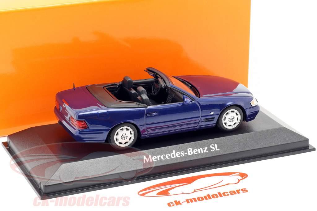 Mercedes-Benz SL Bouwjaar 1999 blauw metalen 1:43 Minichamps