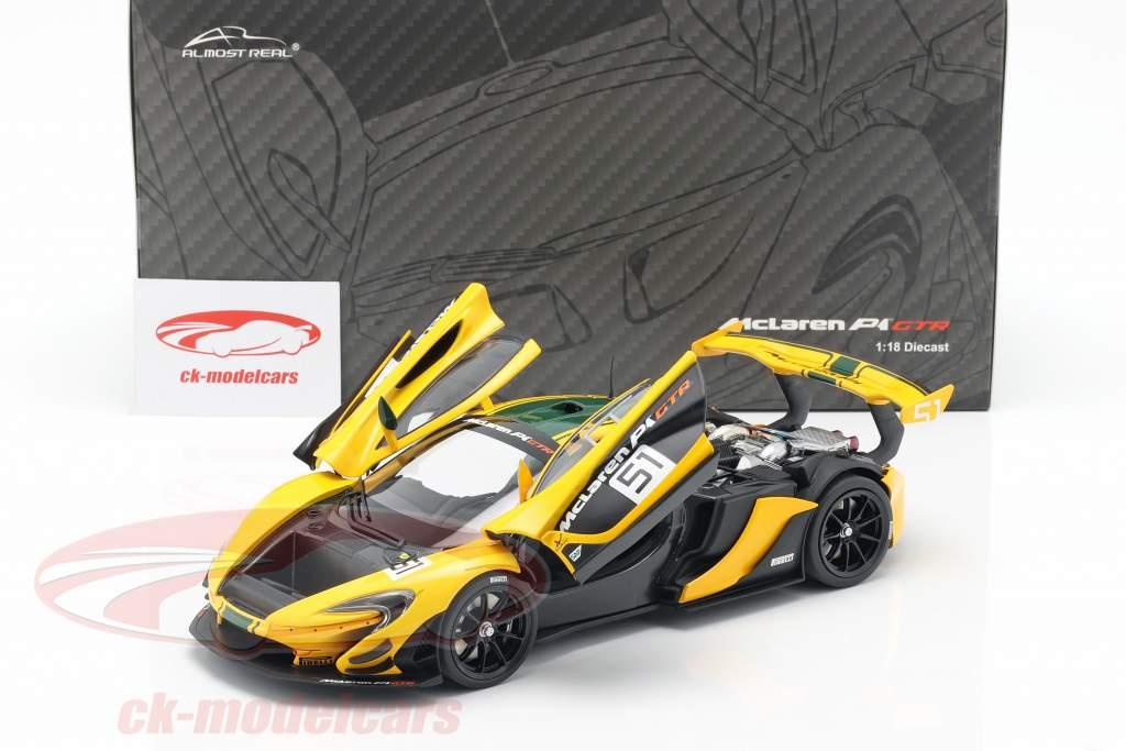 McLaren P1 GTR #51 motore Visualizza Ginevra 2015 giallo / nero / verde 1:18 Almost Real