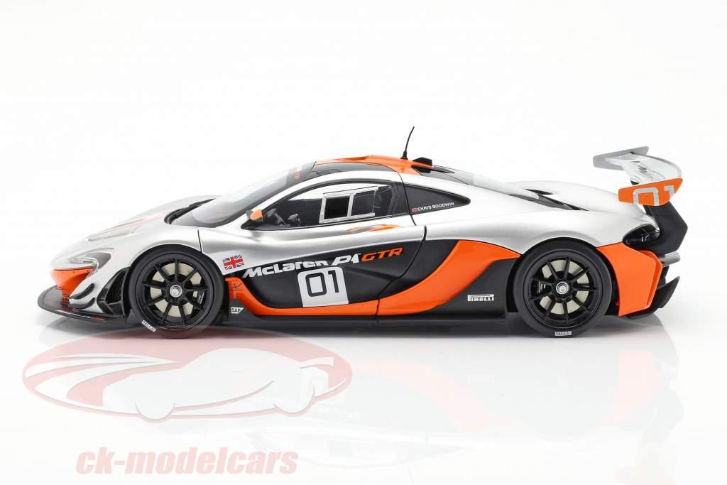 McLaren P1 GTR Concept Car 2015 sort / appelsin / sølv 1:18 Almost Real