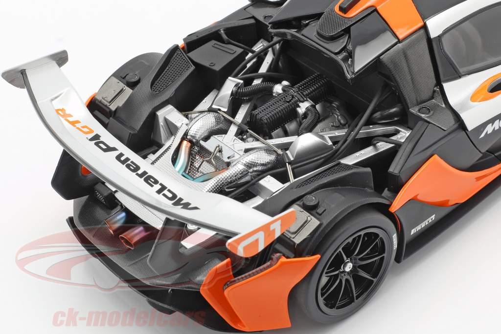 McLaren P1 GTR Concept Car 2015 zwart / oranje / zilver 1:18 Almost Real