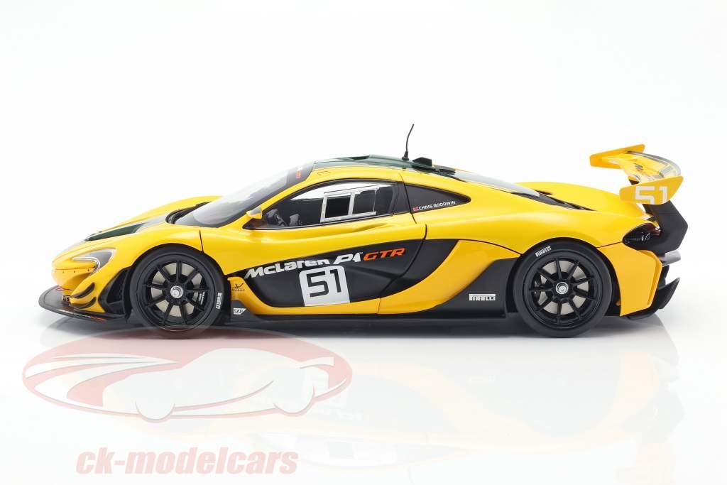McLaren P1 GTR #51 Autosalon Genf 2015 gelb / schwarz / grün 1:18 Almost Real