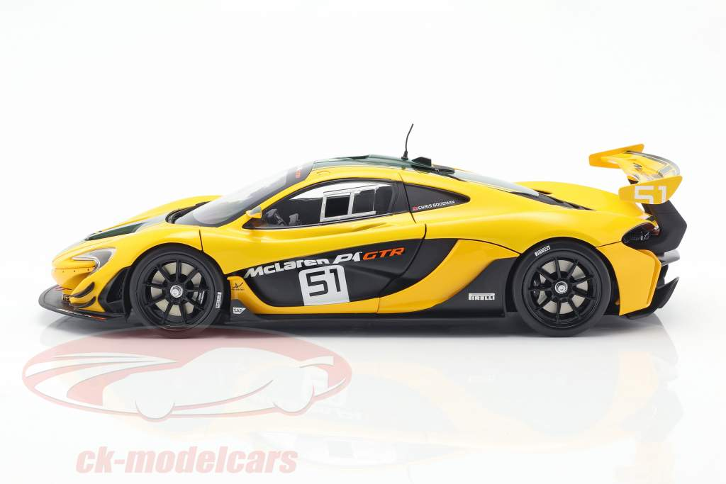 McLaren P1 GTR #51 motor Show Geneve 2015 gul / sort / grøn 1:18 Almost Real