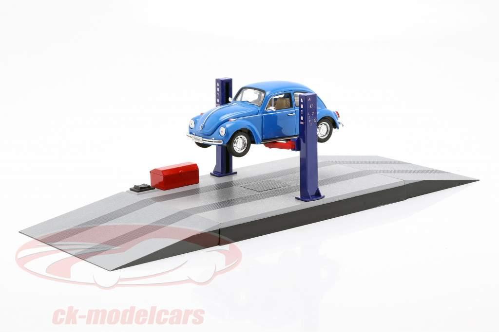 Zwei-Säulen Hebebühne für Modellautos blau / rot / grau 1:24 Triple9