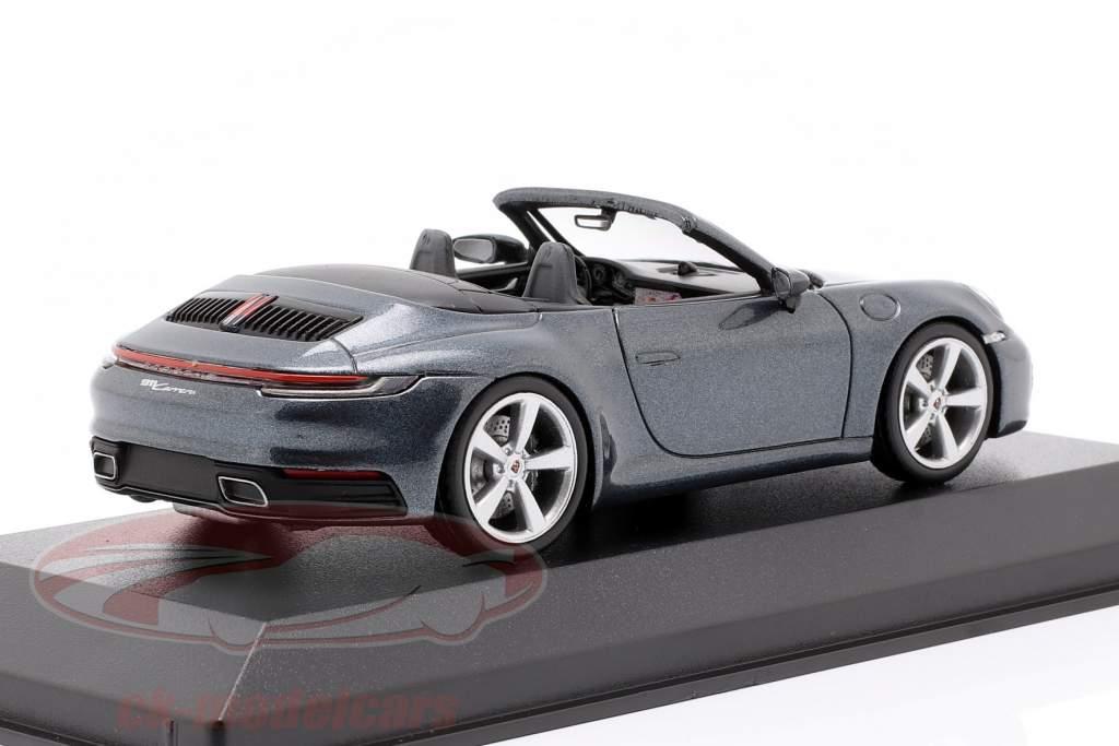 Porsche 911 (992) Carrera 2 Cabriolet Bouwjaar 2019 Biskaje blauw 1:43 Minichamps