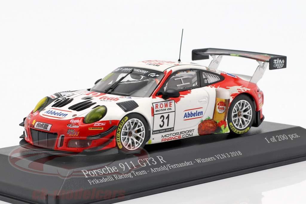 Porsche 911 GT3 R #31 vencedor VLN 3 Nürburgring 2018 Frikadelli 1:43 Minichamps