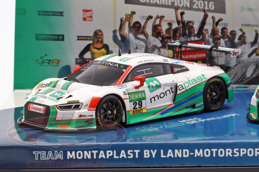 2-Car Set Audi R8 LMS #28 & #29 vincitore GT Masters 2016 1:43 Minichamps