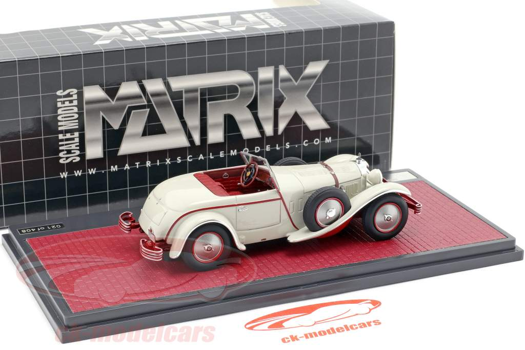 Mercedes-Benz 680S W06 Torpedo Roadster open top 1928 lichtgrijs 1:43 Matrix