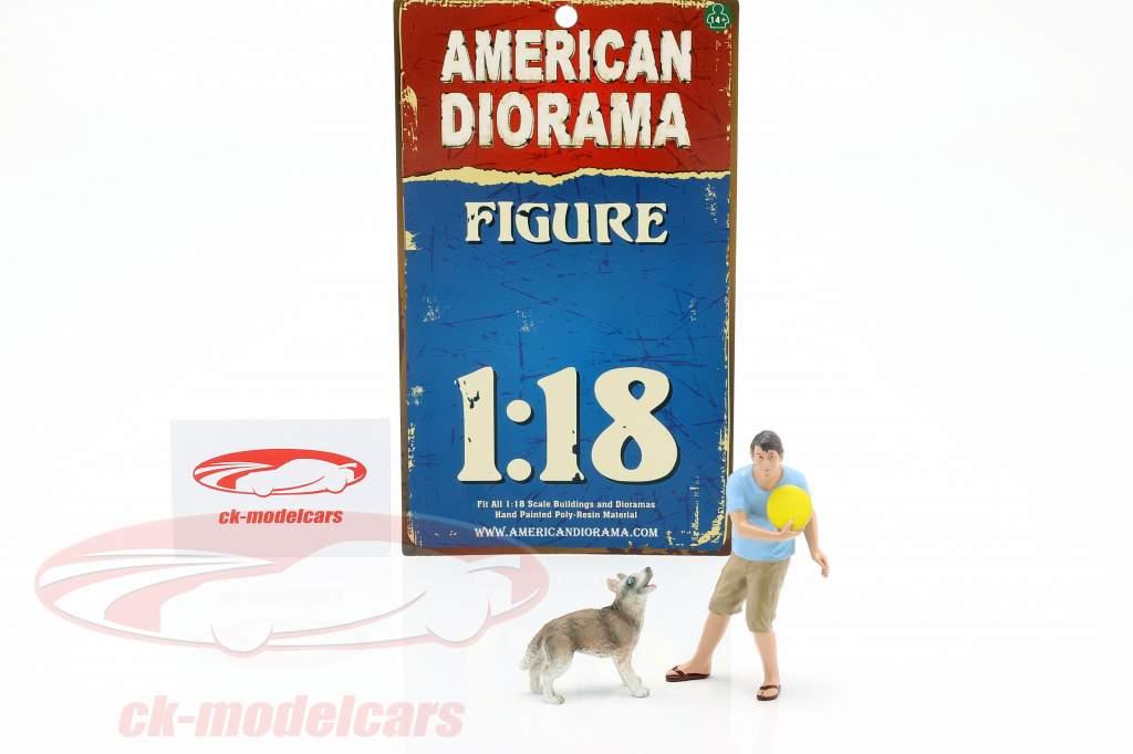 Uomo con cane figura impostato 1:18 American Diorama
