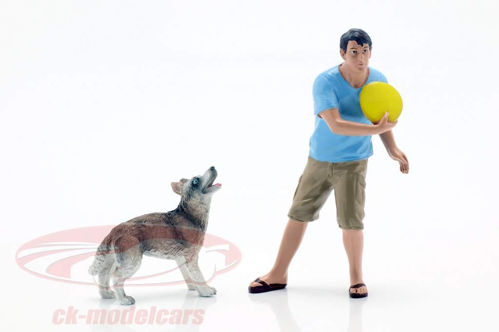 Cara com cão figura conjunto 1:18 American Diorama