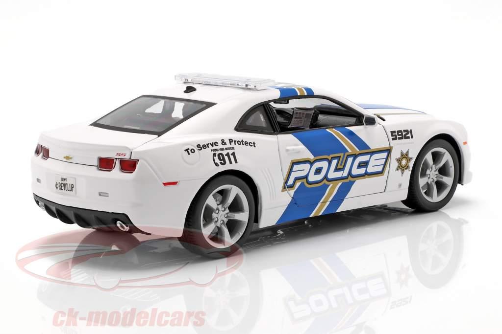 Chevrolet Camaro SS RS Police modelo 2010 azul / branco 1:18 Maisto