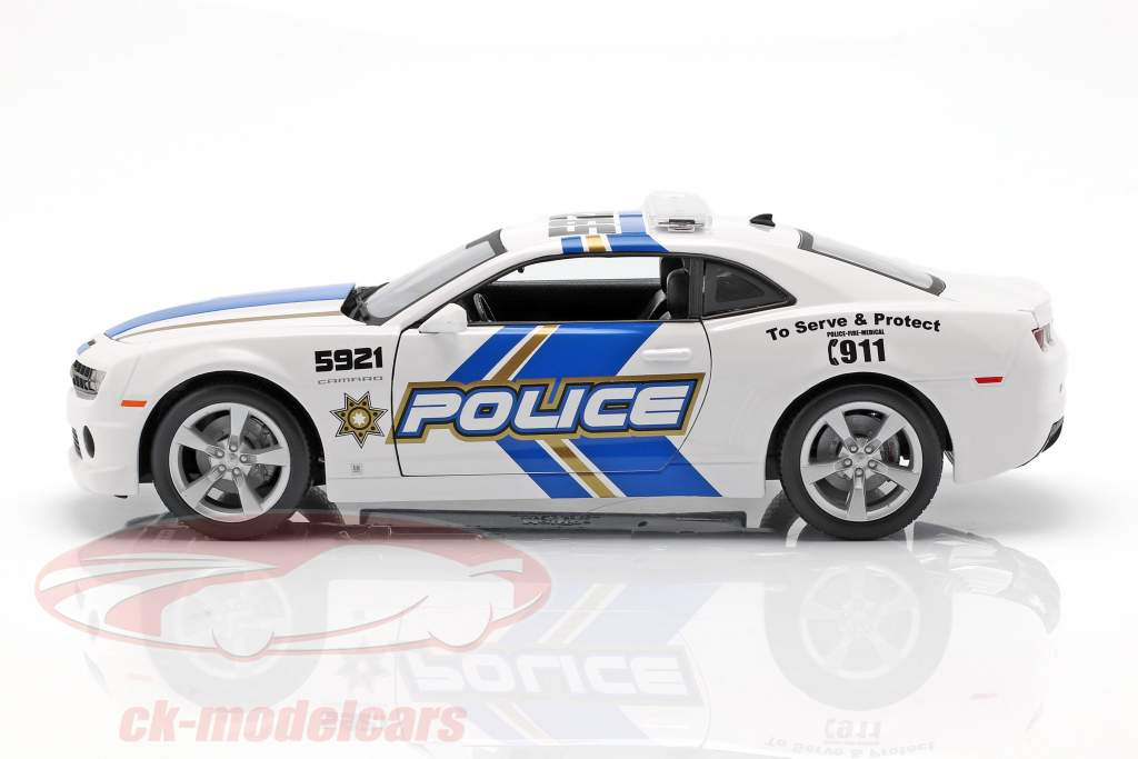 Chevrolet Camaro SS RS polizia anno 2010 blu / bianco 1:18 Maisto