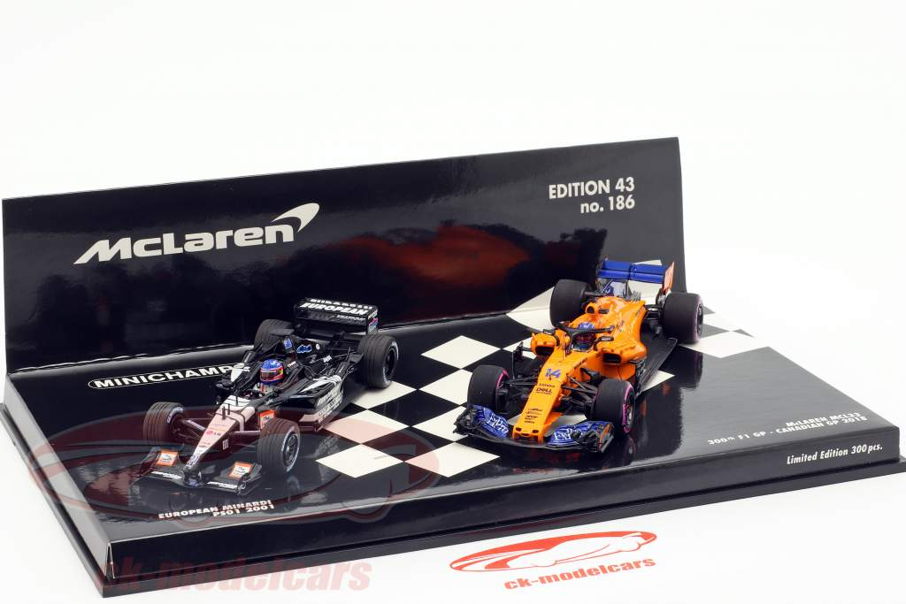 2-Car Set Fernando Alonso 300e formule 1 GP Canada 2018 1:43 Minichamps
