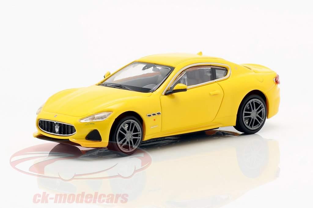 Maserati Granturismo Bouwjaar 2018 geel 1:87 Minichamps