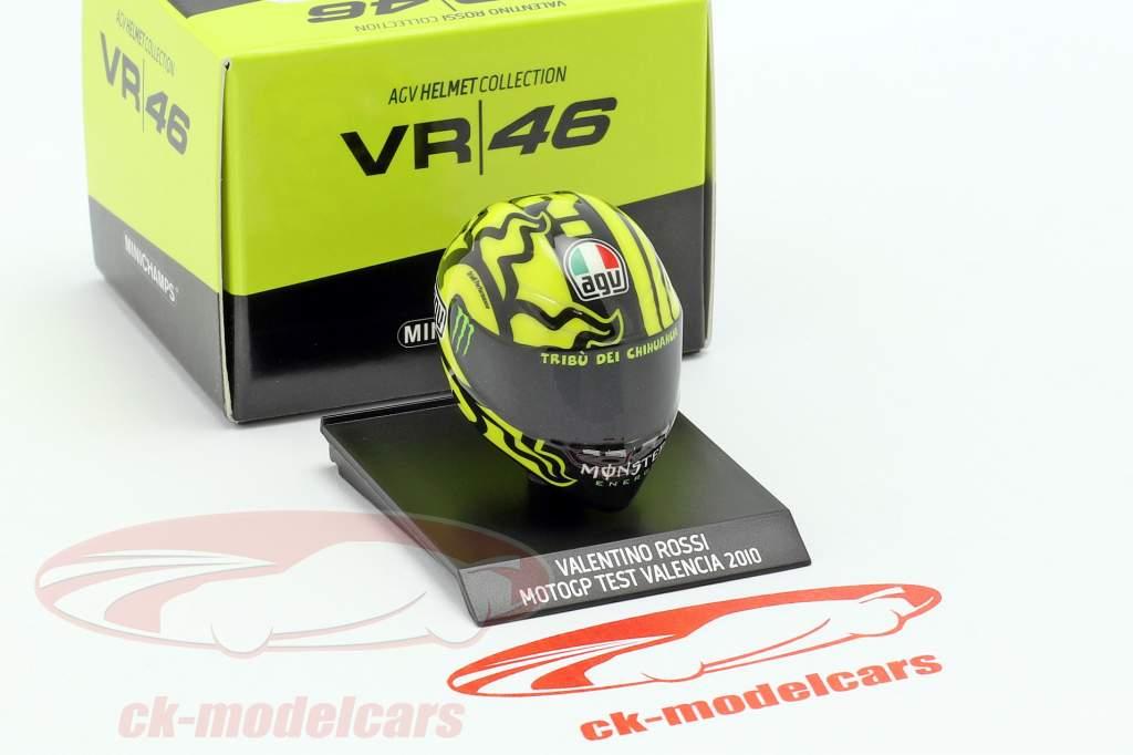 Valentino Rossi Ducati prueba Valencia MotoGP 2010 AGV casco 1:10 Minichamps