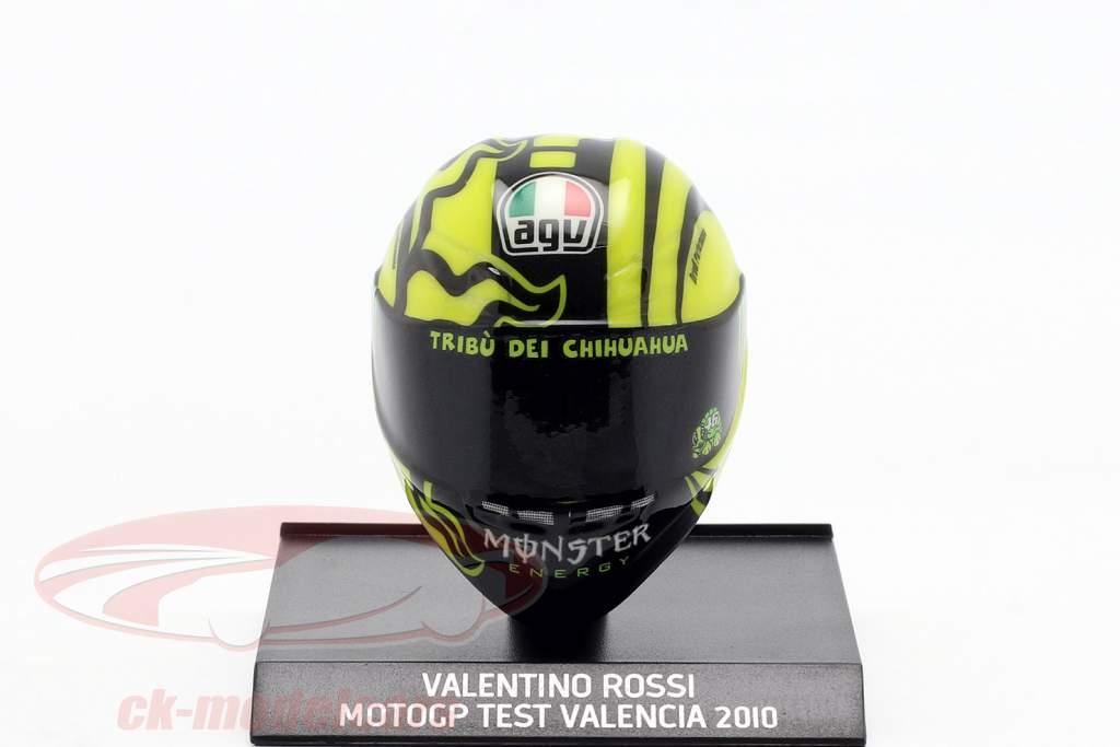 Valentino Rossi Ducati prova Valencia MotoGP 2010 AGV casco 1:10 Minichamps
