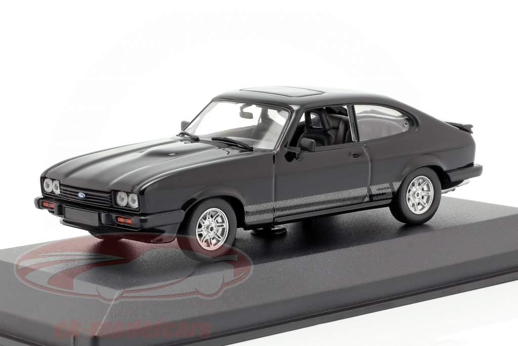 Ford Capri ano de construção 1982 preto 1:43 Minichamps