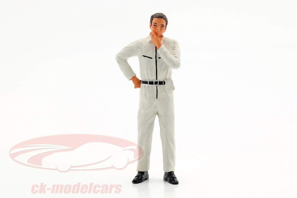 monteur met wit overalls nadenkend figuur 1:18 FigurenManufaktur