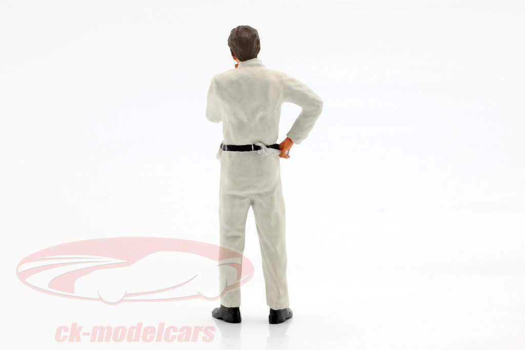 mekaniker med hvid overalls tankevækkende figur 1:18 FigurenManufaktur
