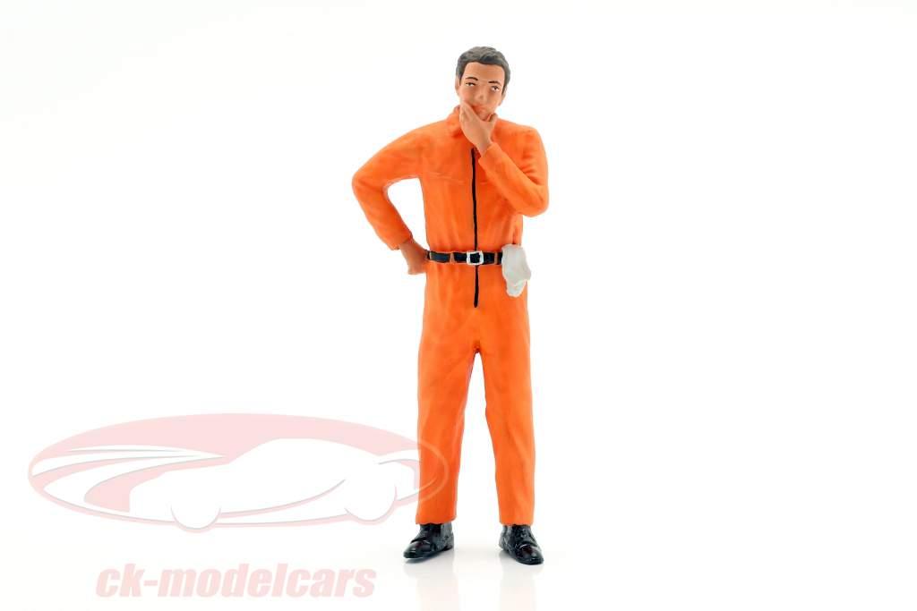 mekaniker med appelsin overalls tankevækkende figur 1:18 FigurenManufaktur