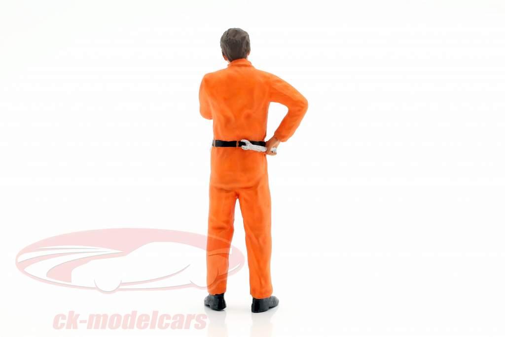 mecánico con naranja mono pensativo figura 1:18 FigurenManufaktur