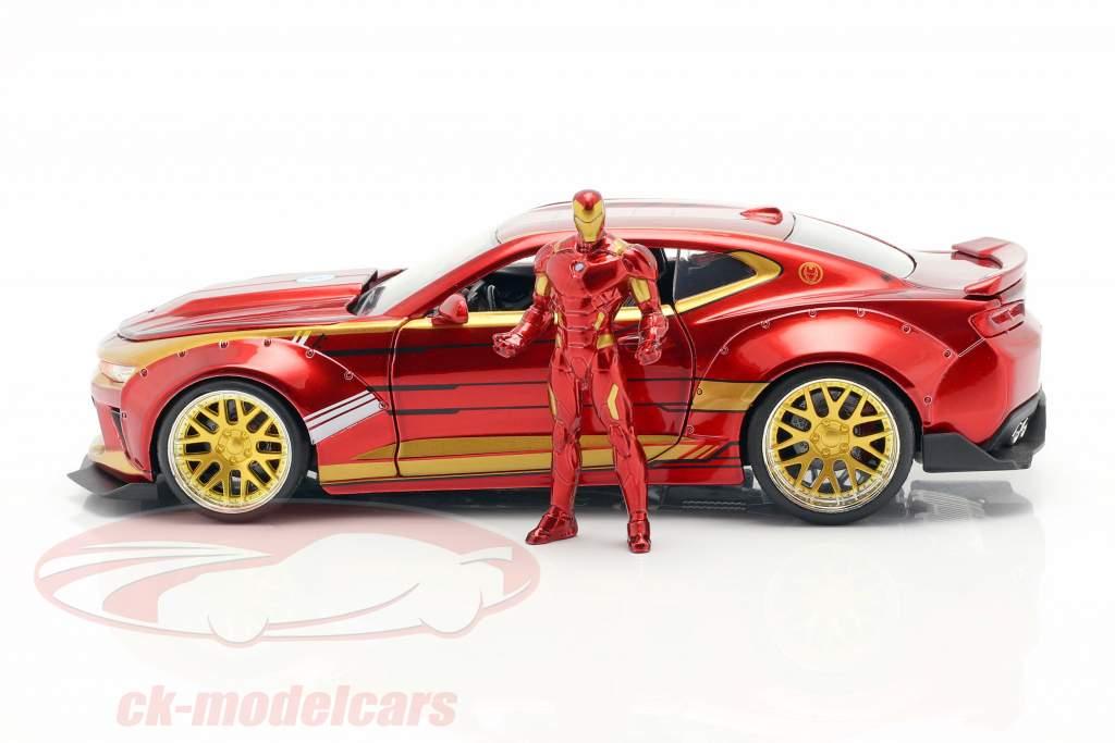 Chevrolet Camaro 2016 mit Figur Iron Man Marvel's The Avengers rot / gold 1:24 Jada Toys