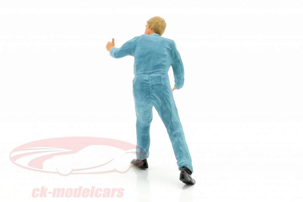 Mechaniker mit blauem Overall Daumen hoch Figur 1:18 FigurenManufaktur