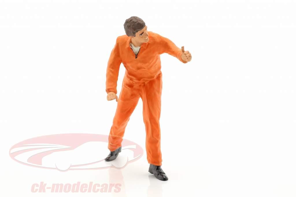 mécanicien avec orange salopette pouce très figure 1:18 FigurenManufaktur