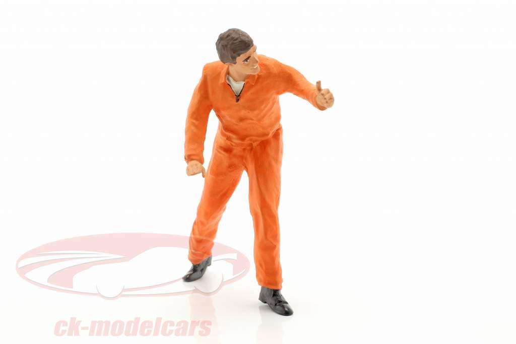 meccanico con arancione tuta pollice altamente cifra 1:18 FigurenManufaktur
