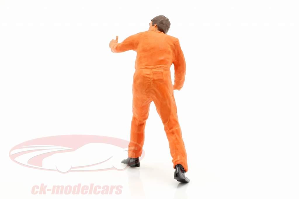 Mechaniker mit orangenem Overall Daumen hoch Figur 1:18 FigurenManufaktur