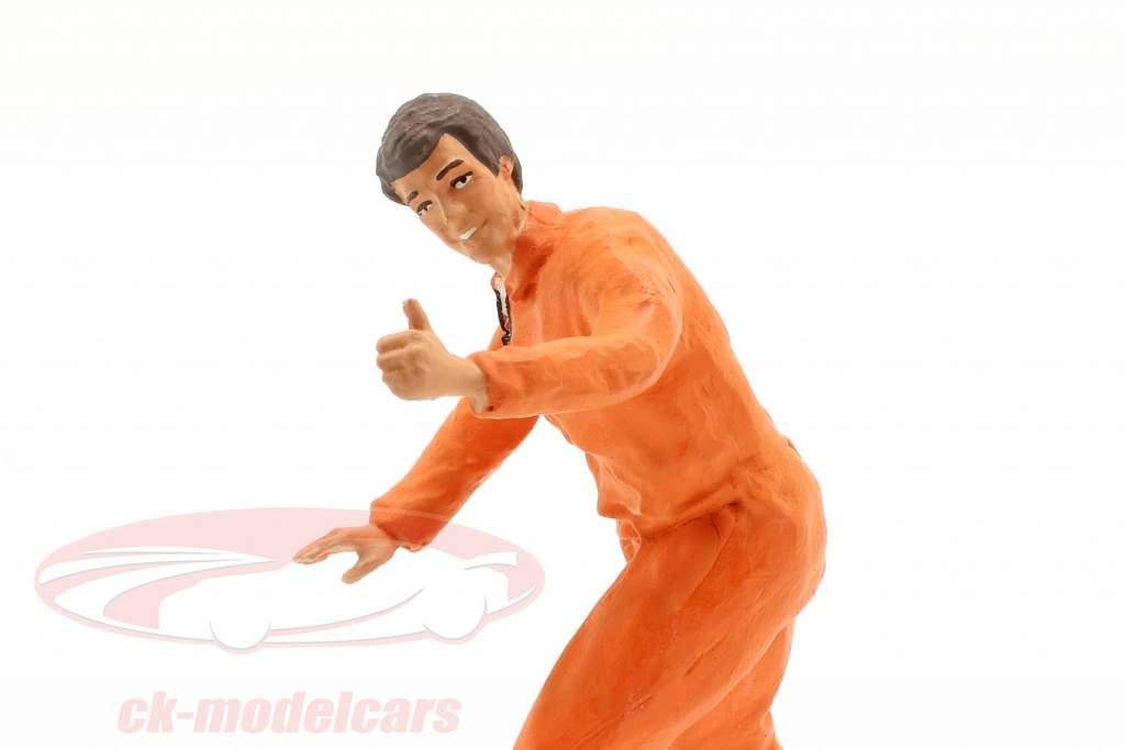 monteur met oranje overalls duim zeer figuur 1:18 FigurenManufaktur