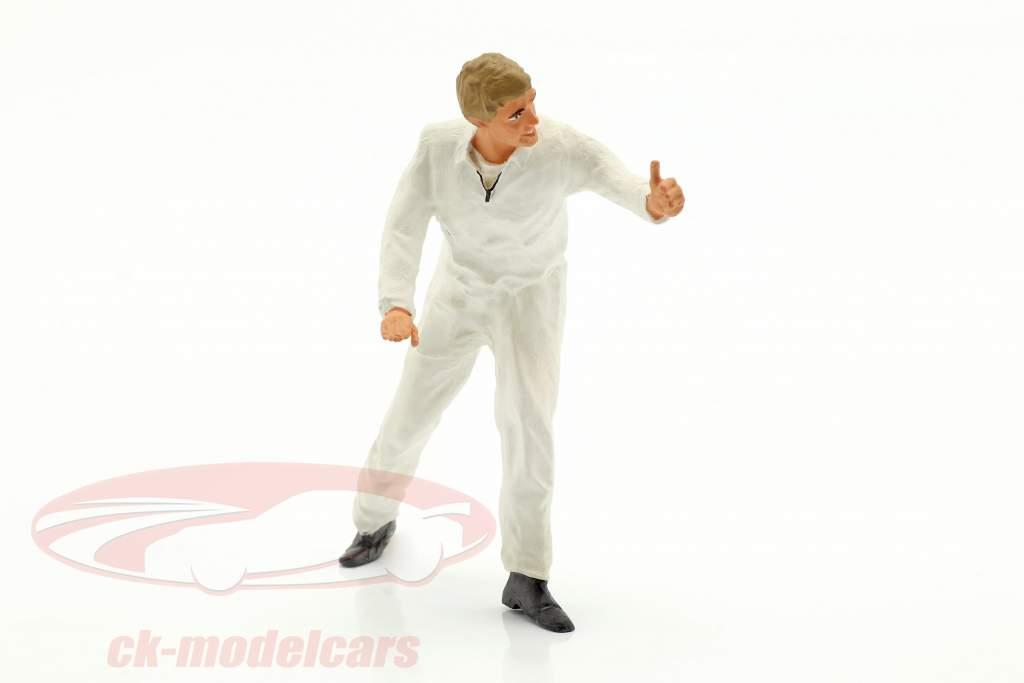 Mechaniker mit weißem Overall Daumen hoch Figur 1:18 FigurenManufaktur