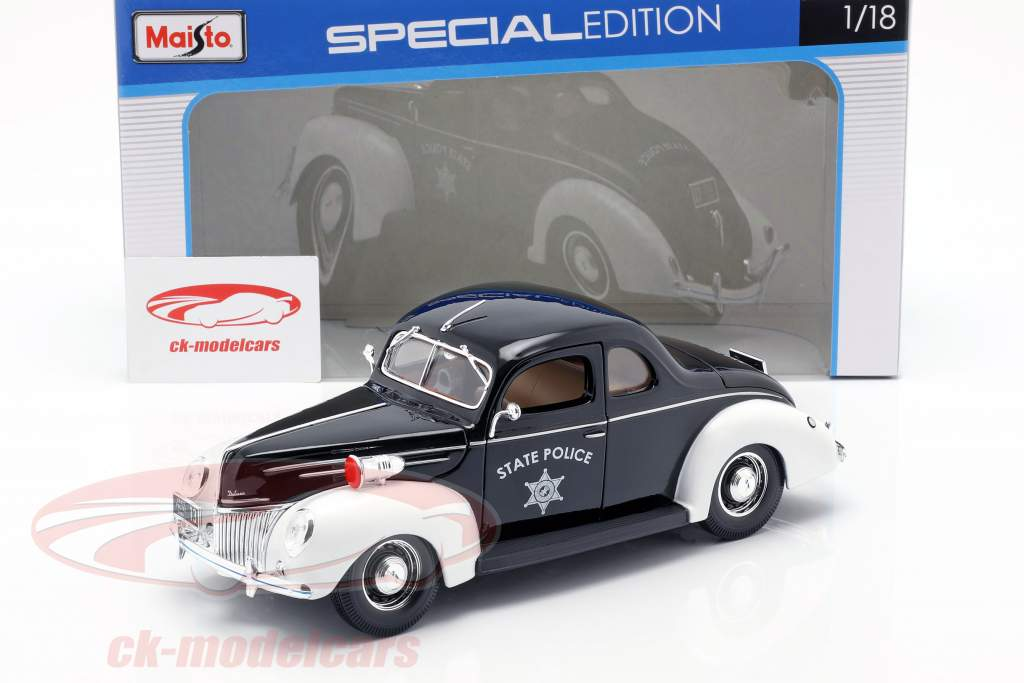 Ford Deluxe State Police Car 1939 1:18 Maisto