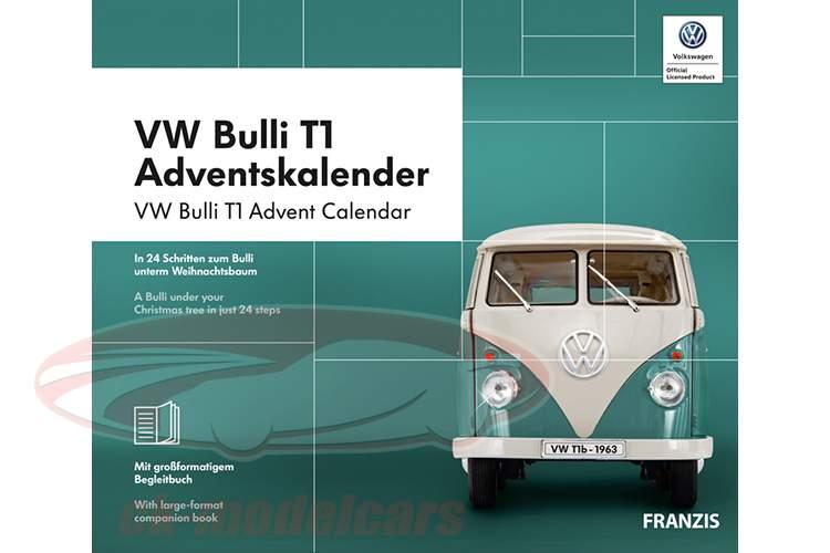 VW Bulli T1 calendário do Advento 2019: Volkswagen VW Bulli T1 turquesa 1:43 Franzis