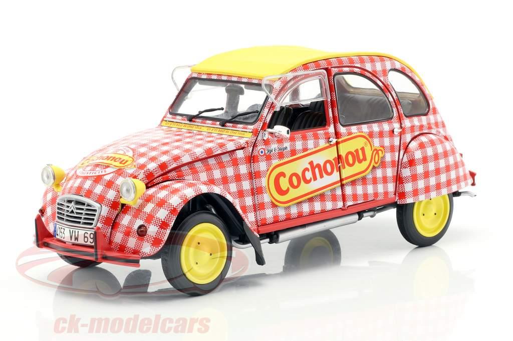 Citroen 2CV6 Cochonou Opførselsår 1985 rød / hvid / gul 1:18 Solido