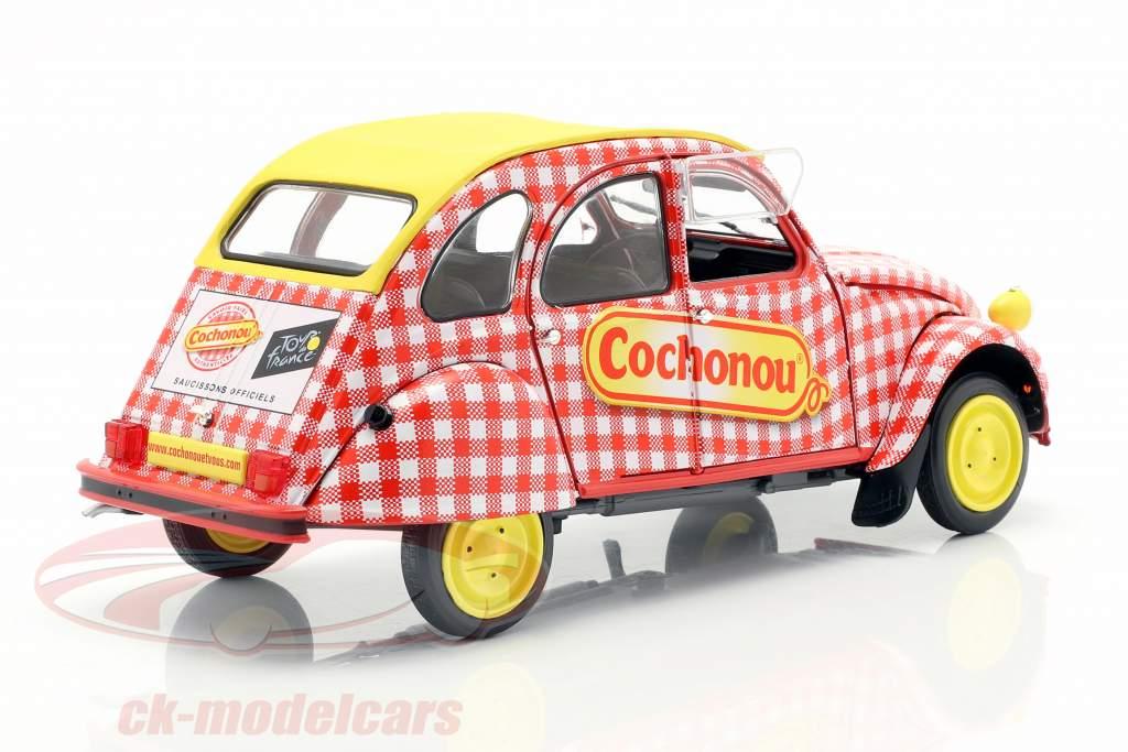Citroen 2CV6 Cochonou Bouwjaar 1985 rood / wit / geel 1:18 Solido