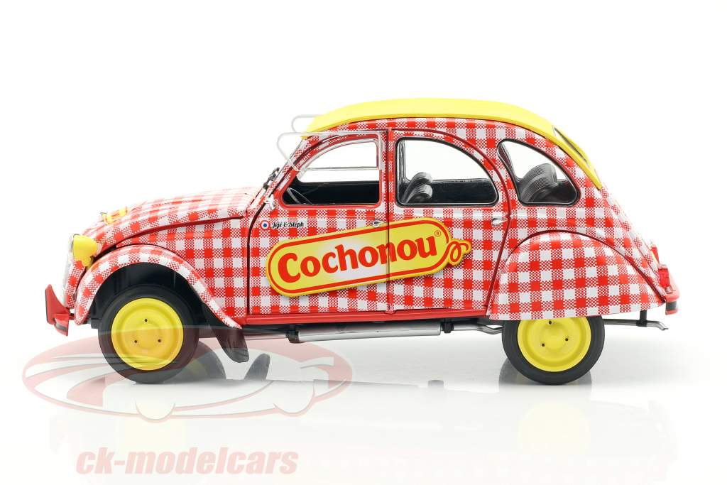 Citroen 2CV6 Cochonou año de construcción 1985 rojo / blanco / amarillo 1:18 Solido
