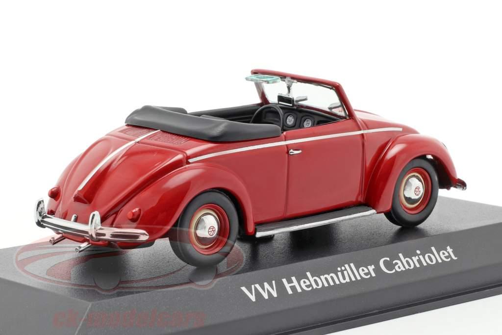 Volkswagen VW Hebmüller cabriolet anno di costruzione 1950 rosso 1:43 Minichamps