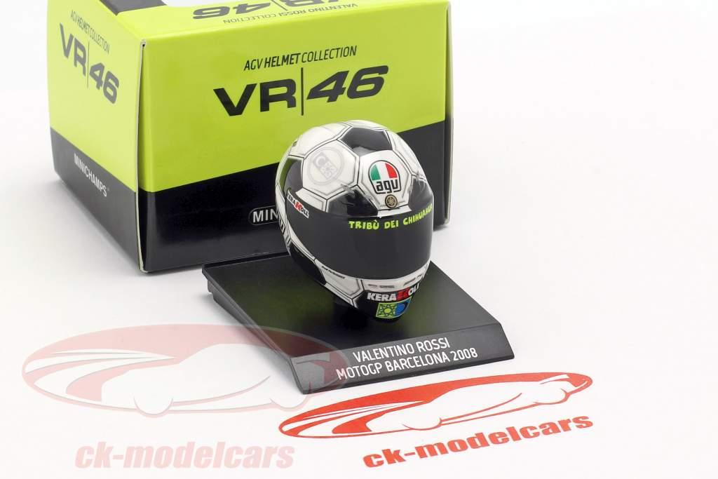 Valentino Rossi Barcelona GP wereldkampioen MotoGP 2008 AGV helm 1:10 Minichamps