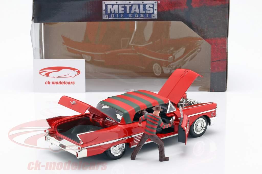 Cadillac Series 62 année de construction 1958 avec Freddy Krueger figure rouge 1:24 Jada Toys