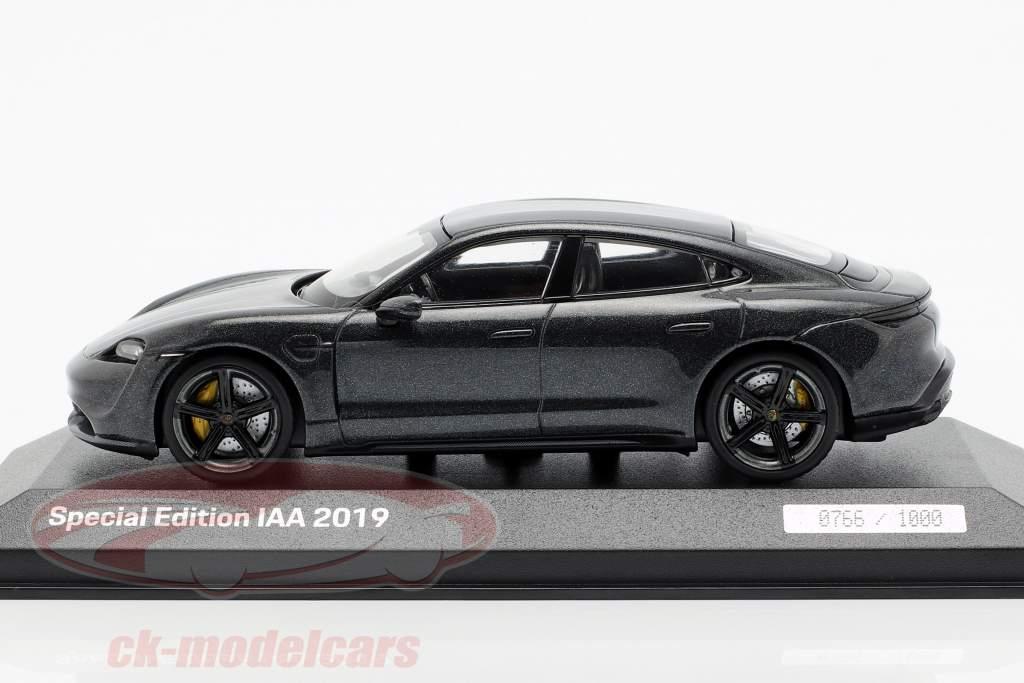 Porsche Taycan Turbo S IAA 2019 volcan gris métallique 1:43 Minichamps